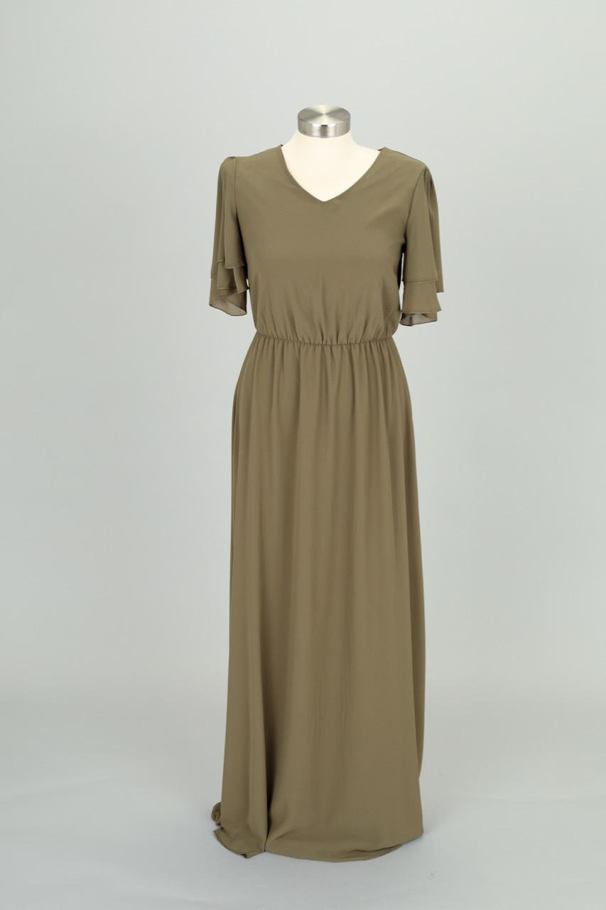 Chloe Olive Chiffon Maxi Dress