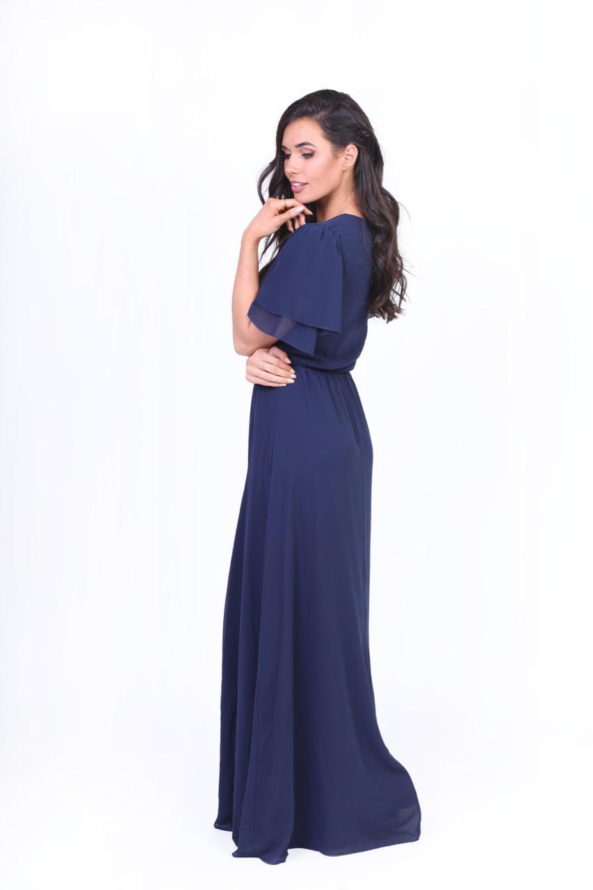 Chloe Long Chiffon Maxi Dress Navy Front from A Closet Full of Dresses