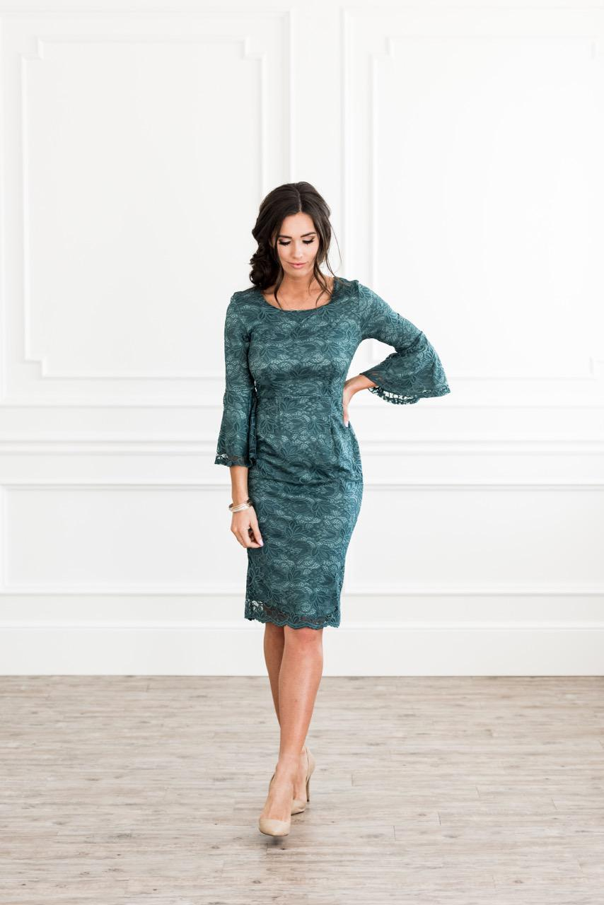 Mikarose April Bell Sleeves Lace Emerald Modest Bridesmaids Dress from A Closet Full of Dresses
