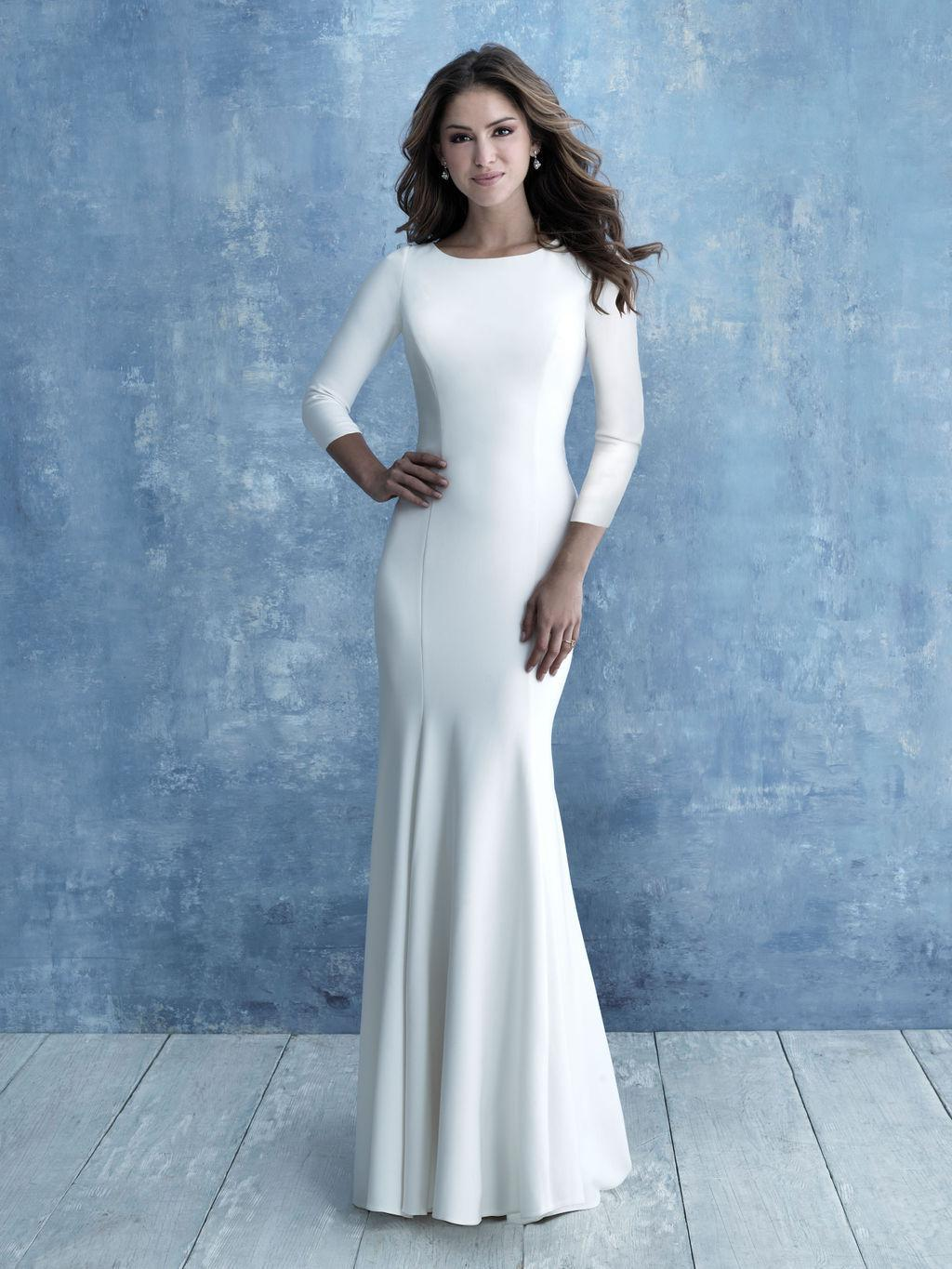 Allure M640 modest wedding dress with long sleeves crepe fitted LDS Bridal gown cheap plus size brides