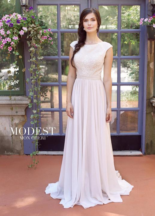 Mon Cheri TR11841 Modest Wedding Dress from A Closet Full of Dresses