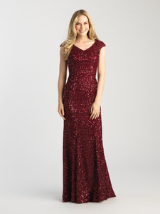MJ 20-502M modest sparkle Burgundy prom dress with sleeves works for plus size LDS formal gown
