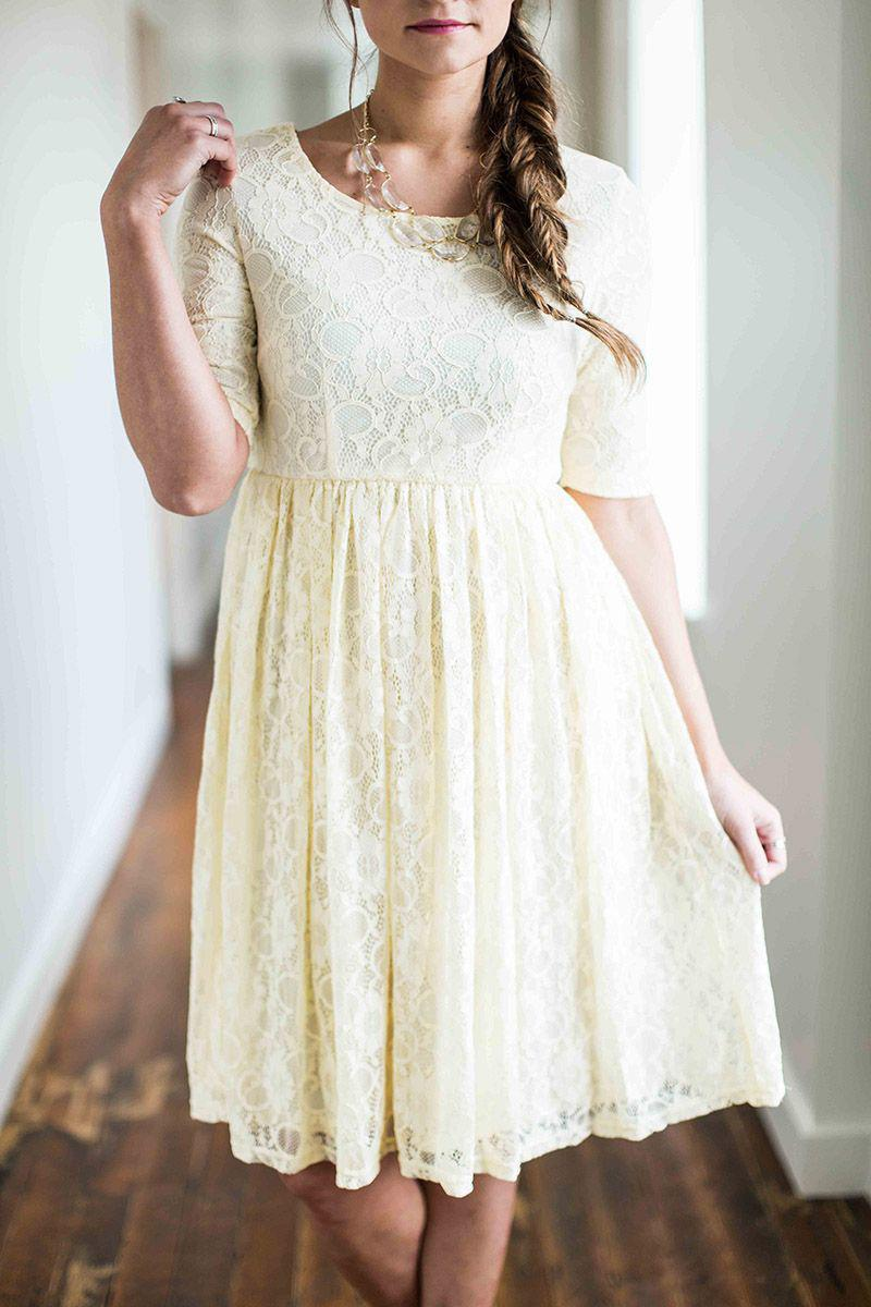 Emmy Cream lace Modest Bridesmaids Dress 3/4 sleeves plus size cheap