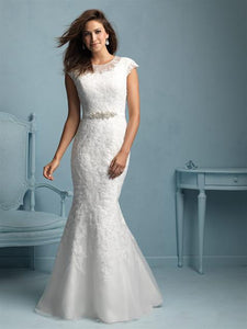 Allure M534 Modest Wedding Dress with sleeves elegant illusion neckline silver belt LDS