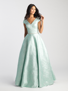 MJ20-503M Emerald modest prom dress with sleeves ball gown LDS formal gown
