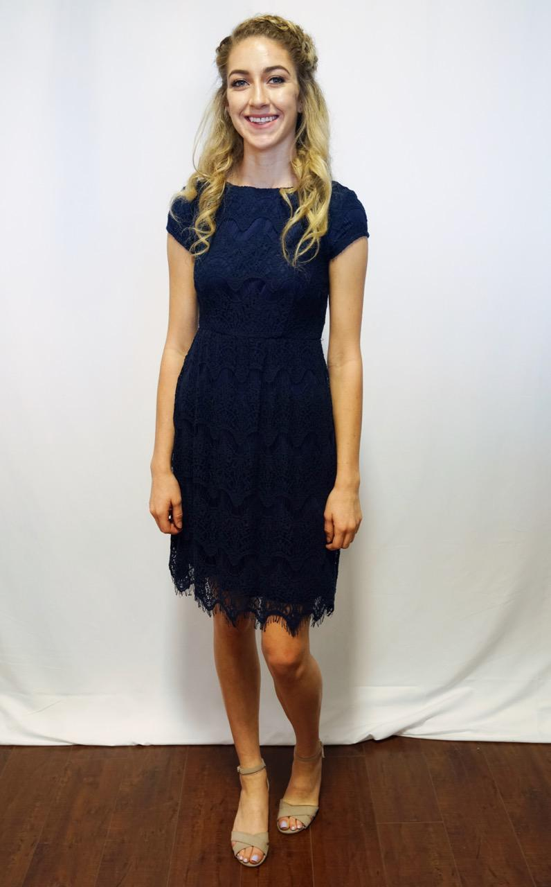 Taryn navy Modest Bridesmaids Dress lace with sleeves casual date night
