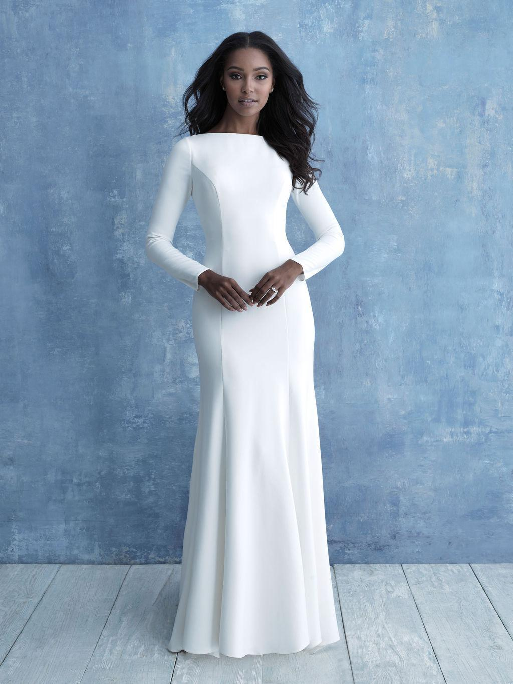 Allure M636 modest wedding dress with long sleeves all crepe chapel train LDS bridal gown for plus size brides