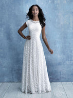 Allure M637 modest lace wedding dress with sleeves LDS bridal gown for plus size