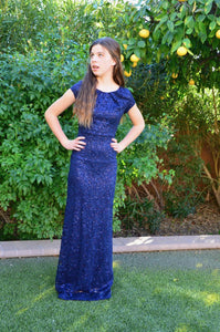 Ella Navy Modest Prom Dress with sleeves mormon prom cheap dress for plus size winter formal