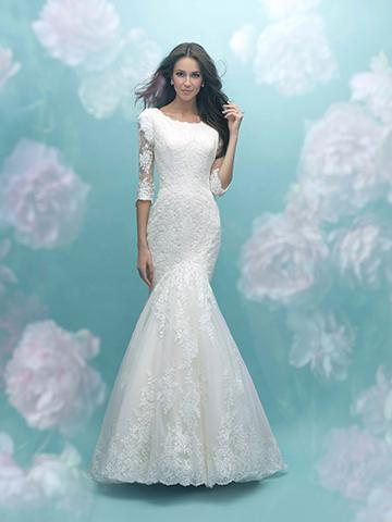 Allure Bridals M586 Modest Wedding Dress fit and flare style 3/4 illusion lace sleeves front