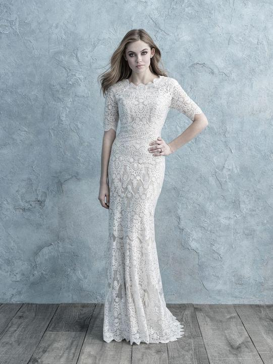 Allure M627 Modest Wedding Dresses for plus size cheap LDS bridal gowns 3/4 lace illusion sleeves
