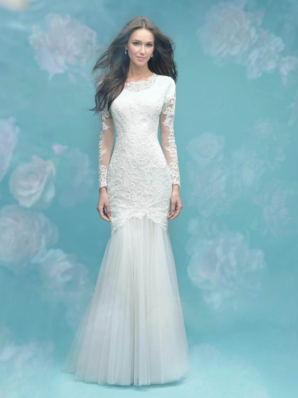 Allure M583 Modest Wedding Dress with long sleeves illusion lace fitted elegant LDS bridal gown