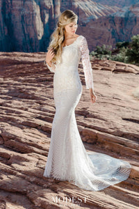 TR12026 Modest Lace Long Sleeve Wedding Dress