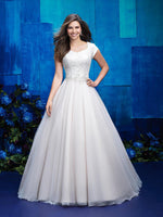M572 modest wedding dress with sleeves ball gown