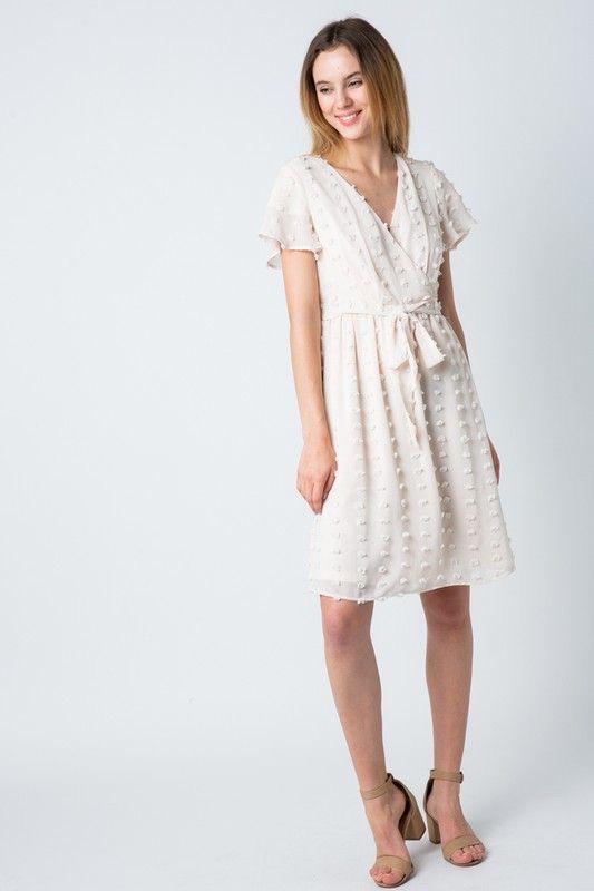 Piper Cream Swiss Dot Wrap Dress