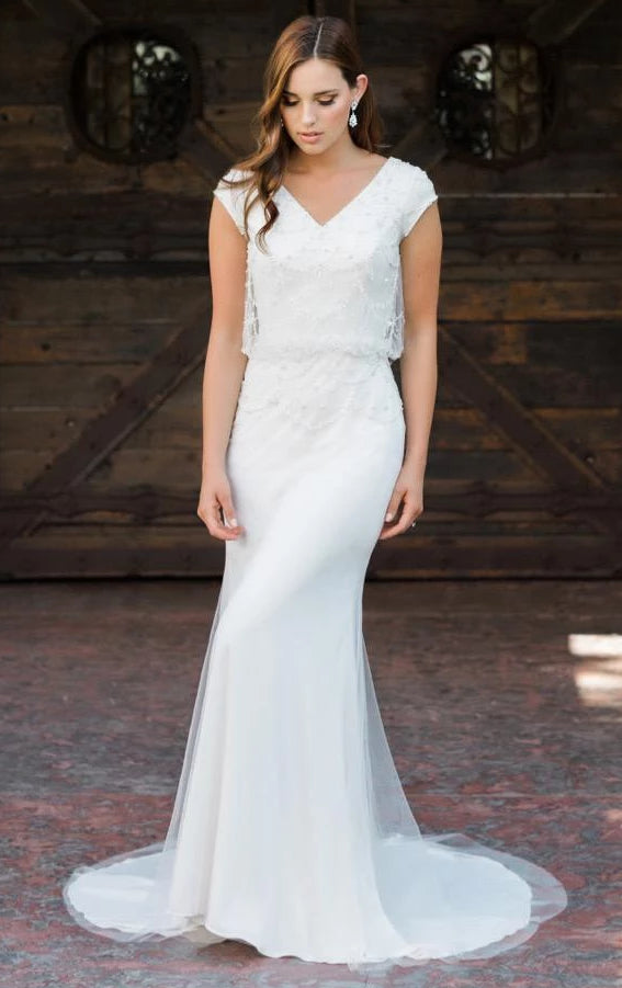 T1988z modest wedding gown temple bridal dress V-necklline cap sleeves