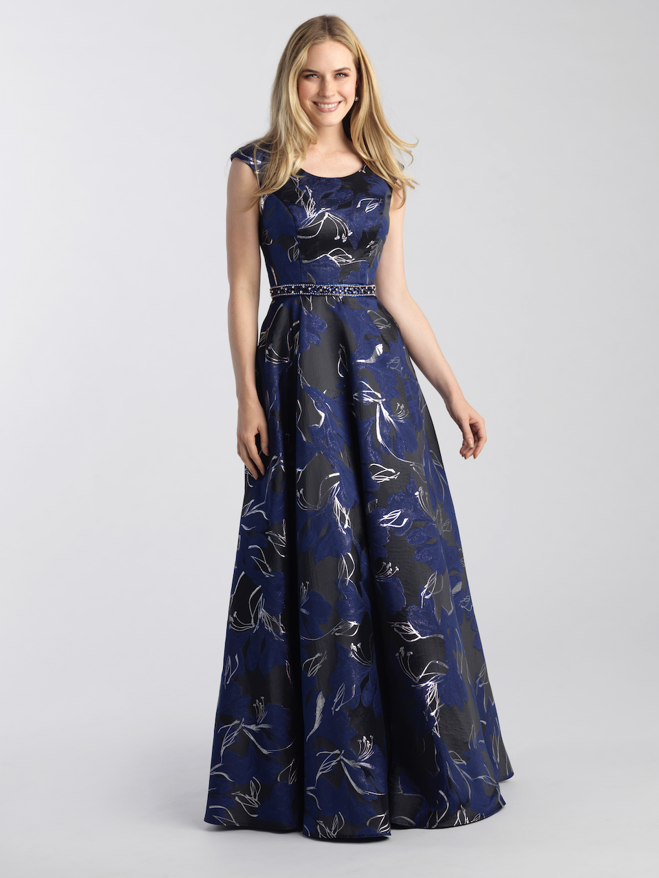 MJ 20-501 black navy modest prom dress with sleeves for plus size LDS formal gown