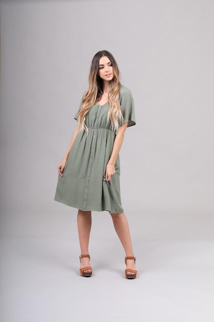 Aria Amazon Green Button Dress