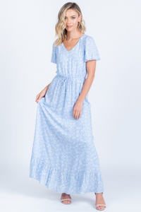 maddie sky blue modest maxi dress swiss dot comfortable with sleeves