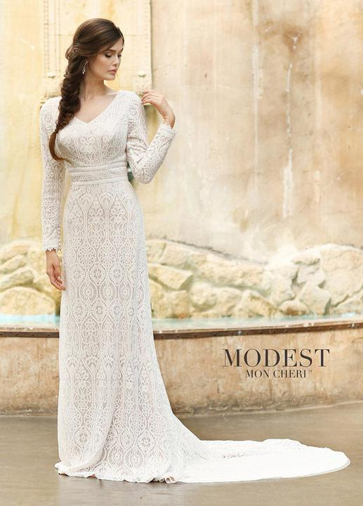Mon Cheri TR11831 Modest Wedding Dress from A Closet Full of Dresses