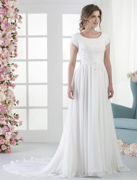 Bonny Bridal 2803 Modest Wedding Dress Bliss Collection Front view from A Closet Full of Dresses