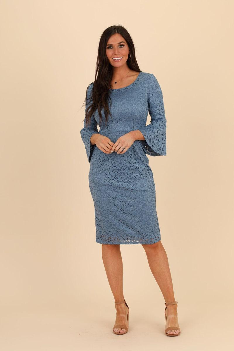 Mikarose April Bell Sleeves Lace Denim Modest Bridesmaids Dress from A Closet Full of Dresses