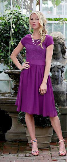 Isabel Purple Modest Bridesmaids Dress from A Closet Full of Dresses