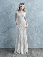 Allure M626 Modest Wedding Dresses with sleeves for plus size cheap LDS bridal gown