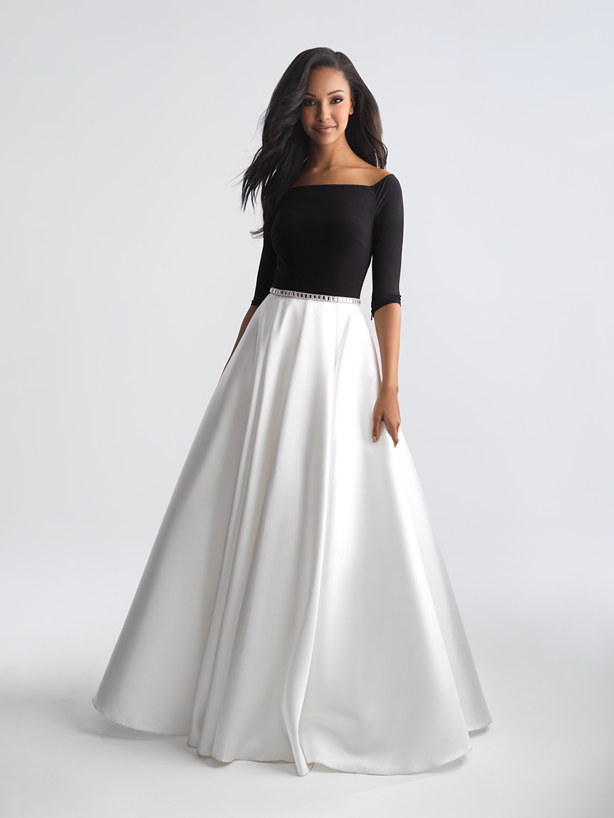 MJ Prom 18-808 Black/White Modest Prom Dress