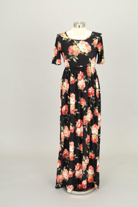 Miranda Black Peach Floral Modest Maxi Dress from A Closet Full of Dresses