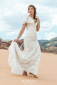 TR12030 Lace Modest Wedding Dress with flutter sleeves A-Line great for plus size brides Boho design front view
