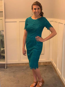 Brinley Teal lace modest bridesmaids dress with sleeves