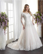 Bonny Bridal 2725 Modest Wedding Dress Bliss Collection front view from A Closet Full of Dresses