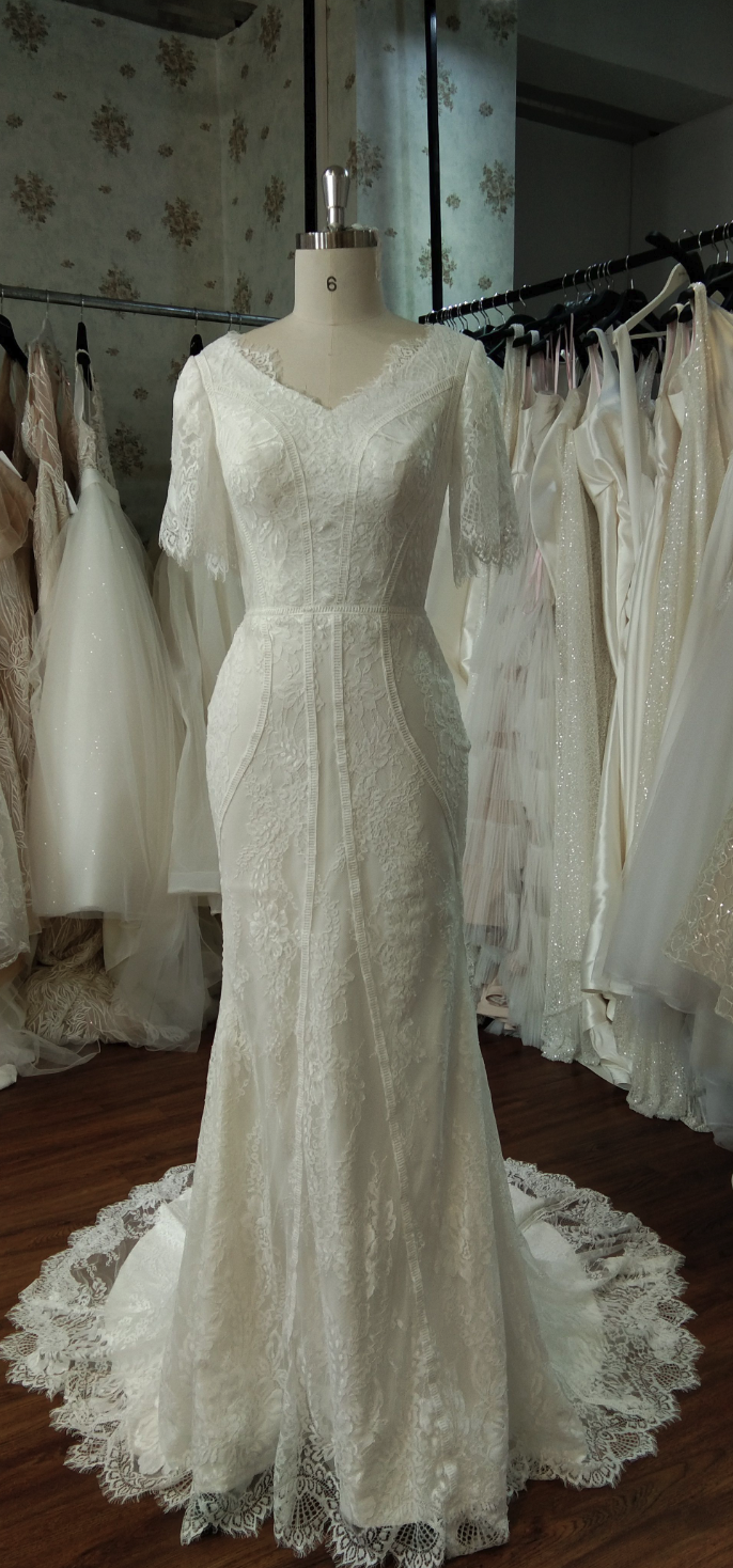 Florence modest lace wedding dress with sleeves