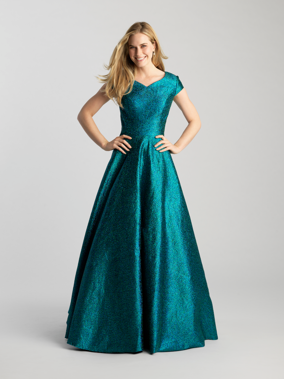 MJ 20-507M Green sparkle Modest Prom Dress Ball Gown for plus size LDS formal