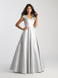 MJ 20-503M modest sparkle Silver prom dress with sleeves ball gown works for plus size LDS formal