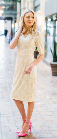 June Cream Lace Modest Bridesmaids Dress