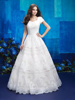 Allure Bridals M578 Modest Wedding Dresses with sleeves ball gown lace LDS for plus size