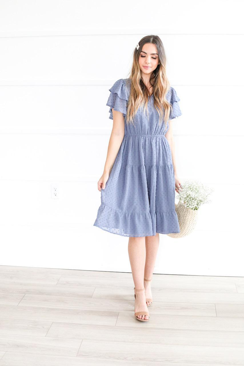 Amy cornflower blue modest casual bridesmaids dress swiss dot