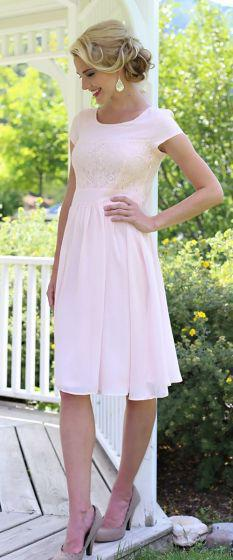 Isabel Pale Pink Modest Bridesmaids Dress from A Closet Full of Dresses