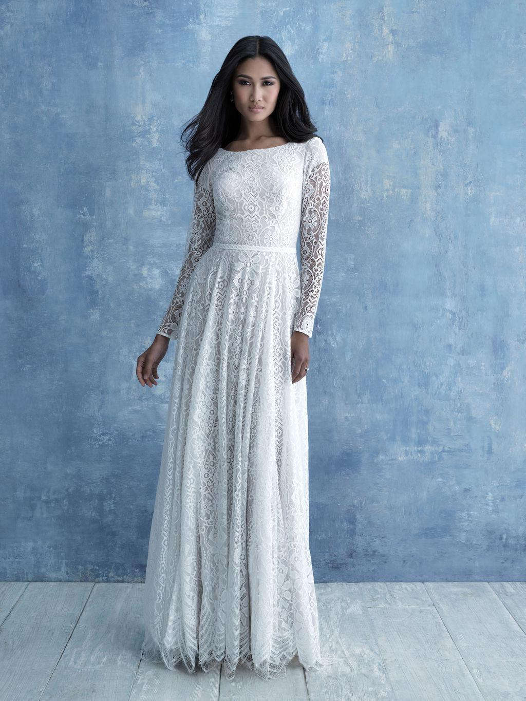 Allure M630 modest wedding dress with long sleeves cheap LDS bridal gown for plus size brides