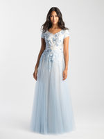 MJ 20-505 lite blue modest prom dress with sleeves lace LDS formal gown for plus size