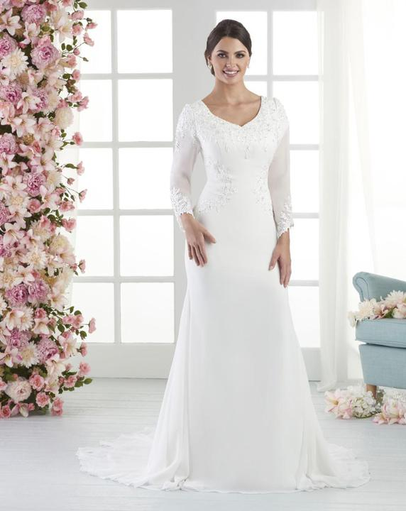 Bonny Bridal 2802 Modest Wedding Dress Bliss Collection Front view from A Closet Full of Dresses