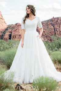 TR12025 LDS modest wedding dresses ball gown 3/4 sleeves lace and organza beautiful bridal gown for plus size front view