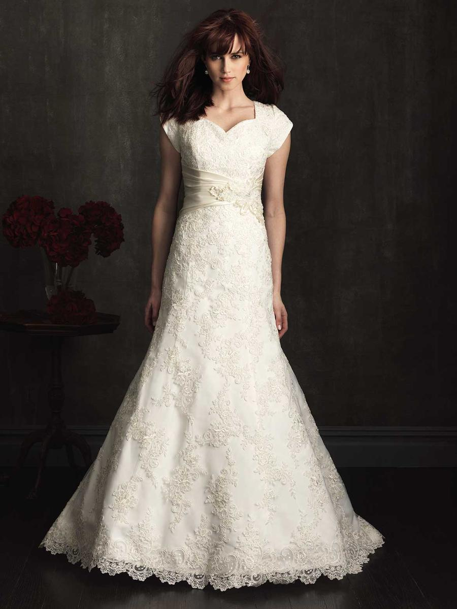 Allure M504 Modest Wedding Dresses with sleeves lace bridal gown LDS for plus size