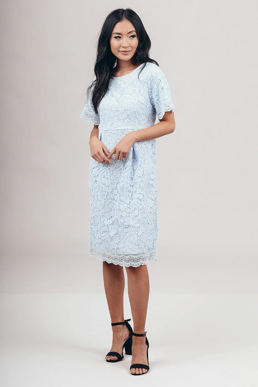 Demi Blue modest lace casual dress 3/4 sleeves knee length for church or bridesmaids