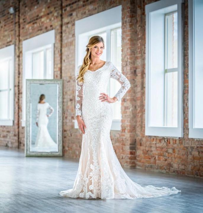 Mon Cheri TR21902 Modest Wedding Dress from A Closet Full of Dresses