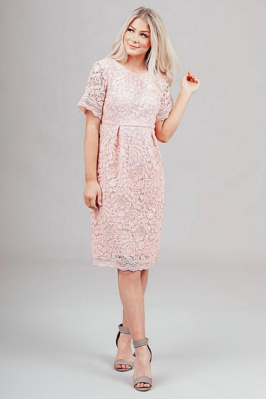 Demi modest lace casual dress 3/4 sleeves knee length for church or bridesmaids