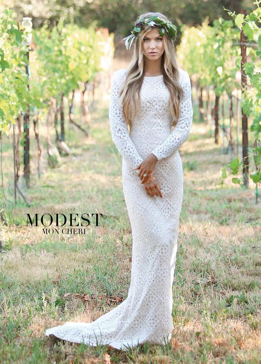 Mon Cheri TR11832 Modest Wedding Dress from A Closet Full of Dresses