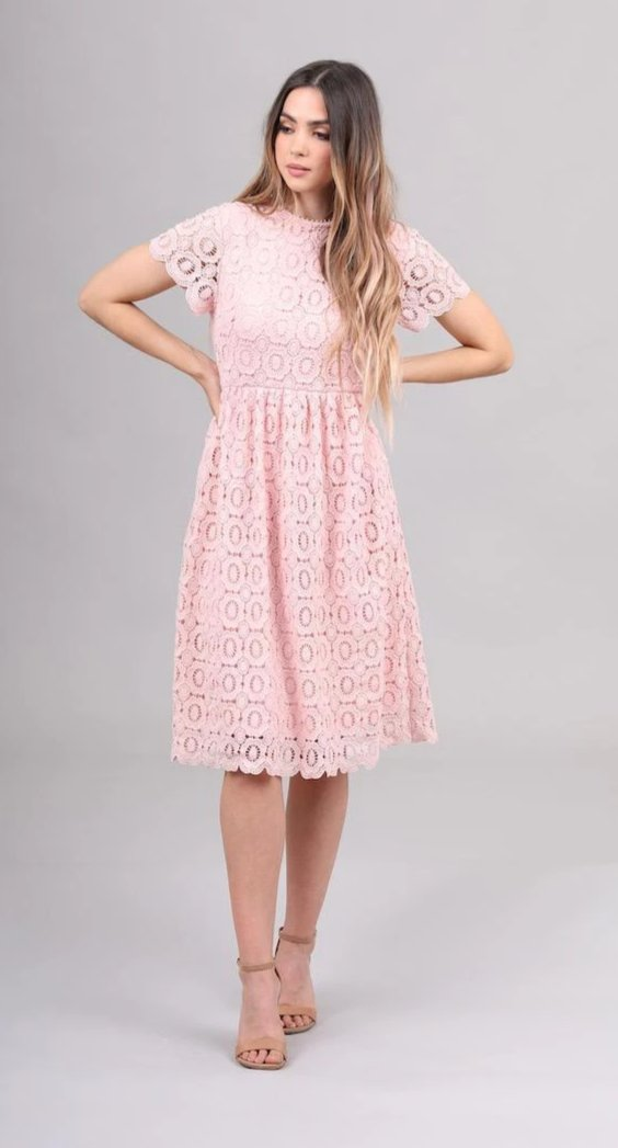 Mabel modest bridesmaids dress lace all over with sleeves pink